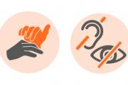 Grafik mit Taktilen Händen und durchgestrichenen Augen/Ohren