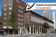 Bild vom Haus der Technik, dem neuen Standort der DGfT mit dem Logo der Deutschen Gesellschaft für Taubblindheit,
