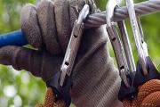 Das Bild zeigt eine Hand an einem Kletterseil und Sicherungshaken