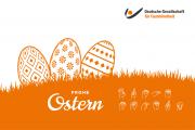 Oster-Grafik mit orangenen Ostereiern und Logo